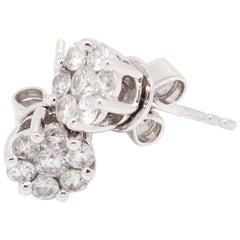 14 Karat White Gold 0.40 Carat Flower Cluster Diamond Stud Earrings
