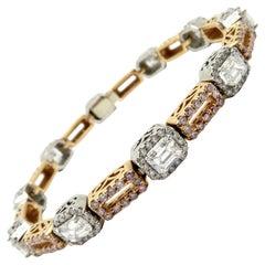 Estate Platinum and Rose Gold Pink Diamond and Emerald Cut Tennis Bracelet