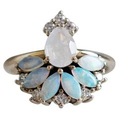 Fairydust Opal Moonstone Diamond Ring