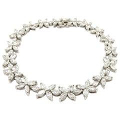 Estate 18 Karat Gold Marquise Star or Flower Diamond Tennis Fashion Bracelet