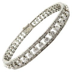 Platinum Art Deco Style Round Diamond Tennis Bracelet