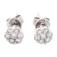 14 Karat White Gold 0.47 Karat Flower Cluster Diamond Stud Earrings