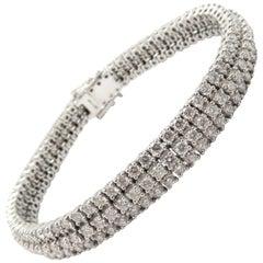 Estate 18 Karat Gold Round Diamond Designer a. Jaffe Three-Row Tennis Bracelet