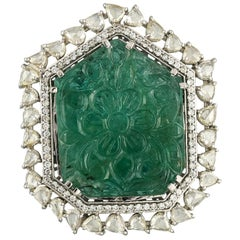Set in 18 Karat Gold, Carved Zambian Emerald and Rose Cut Diamond Cocktail Ring