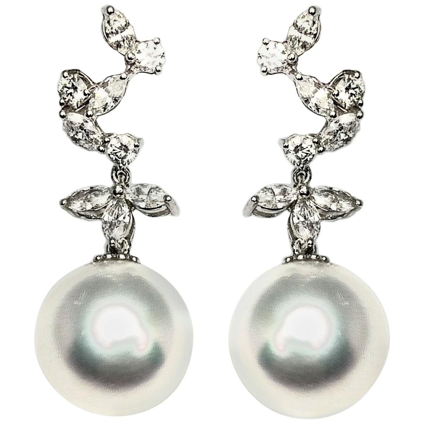 South Sea Pearl Diamond Dangling Earrings