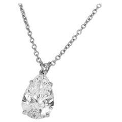 Harry Winston Pear Shaped 2.01 Carat Diamond Platinum Solitaire Pendant