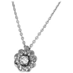 Chaumet Diamond 18 Karat White Gold Pendant Necklace