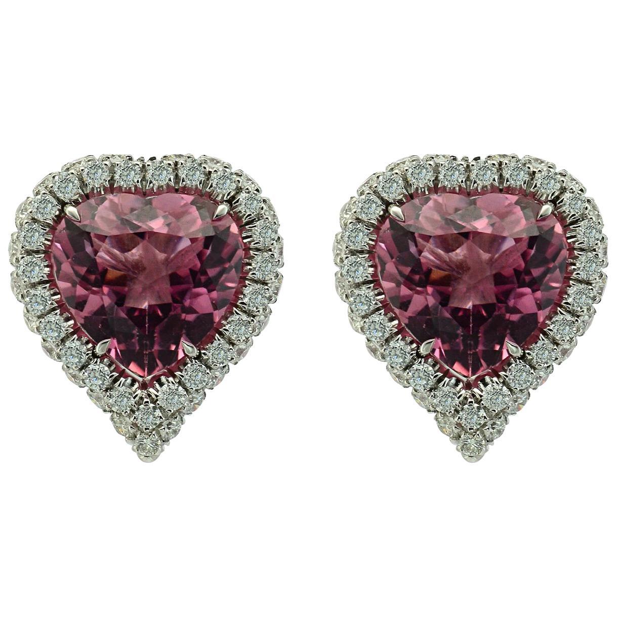 Heart Shaped Pink Tourmaline Diamond 18KT White Gold Earrings