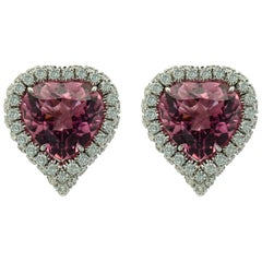Pink Tourmaline Heart Shape Gold Earrings by Margherita Burgener, Italy