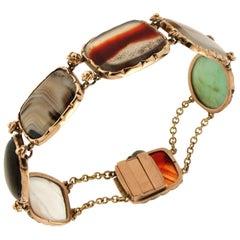Jasper 14 Karat Yellow Gold Cuff Bracelet