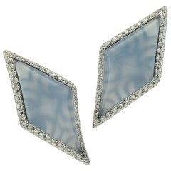 Diamond Chalcedony Gold Earrings Handcrafted by Margherita Burgener, Italy