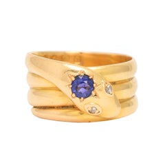 Antique Victorian Sapphire Diamond Coiled Snake Ring