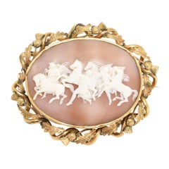 "Antique Victorian ""Hours Leading the Horses of the Sun"" Shell Cameo Brooch"