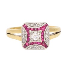 Art Deco Diamond Ruby Cushion Cluster Ring