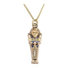Egyptian Revival, circa 1920 Enamel Sarcophagus and Mummy Pendant