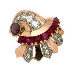 Ruby 14 Karat Yellow and White Gold Diamonds Cocktail Ring
