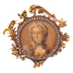Charming French Victorian Brooch Painted Miniature in Diamond Mounted Gold Frame