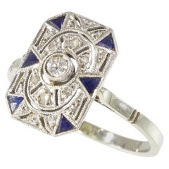 Stunning French Art Deco Diamond and Sapphire Engagement Ring