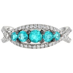 Leon Mege Natural Paraiba Tourmaline  Diamond Micro Pave Ring