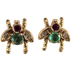 0.30 Carat Emerald Ruby 0.08 Carat White Diamond Yellow Gold Stud Flies Earrings