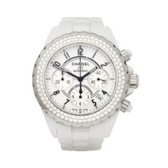 Chanel J12 2 Row Diamond Bezel Ceramic H1008 Wristwatch