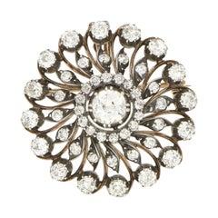 4.70 Carat Victorian Diamond Swirl Brooch or Pendant