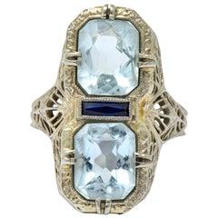 Edwardian 3.87 Carat Aquamarine Sapphire 14 Karat White Gold Ring