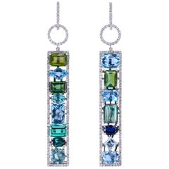 Leon Mege Couture Tourmaline Aquamarine Sapphire Diamond Earrings