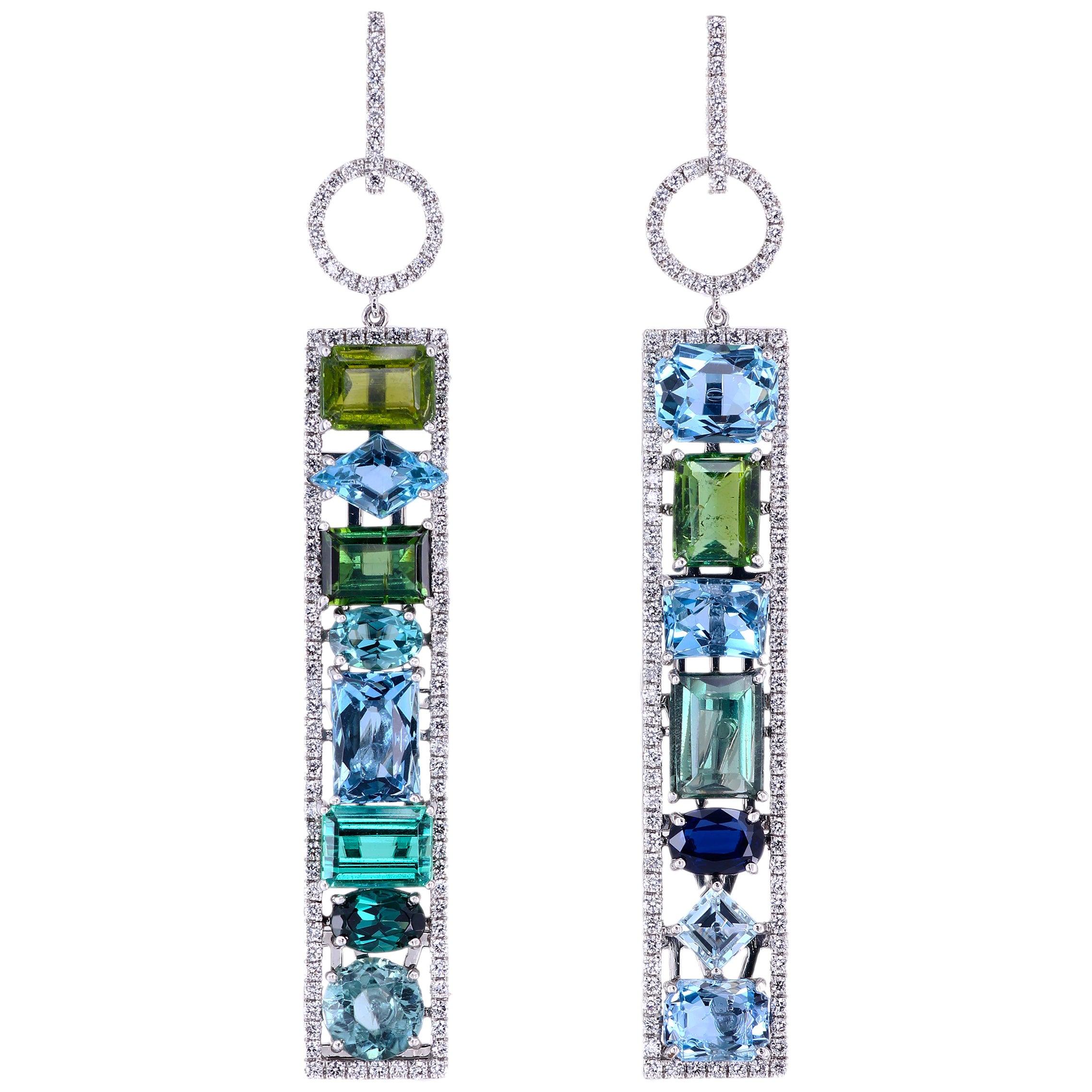 Leon Mege Couture Tourmaline Aquamarine Sapphire Diamond Earrings