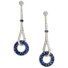 Sapphire and Diamond Platinum Long Drop Earrings