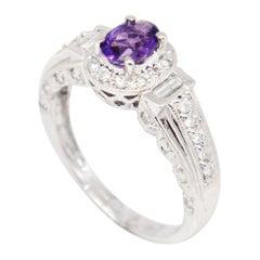 14 Karat White Gold 0.82 Carat Amethyst and Diamonds Halo Ring
