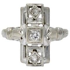 Art Deco Diamond 14 Karat White Gold Dinner Cocktail Ring