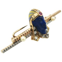 Rare Egyptian Revival Pharoah Brooch Lapis Diamond Ruby Pearl Enamel Art Deco