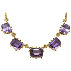 Antique Victorian 81.83 Carat Amethyst 14 Karat Gold Necklace