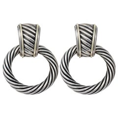 David Yurman 14 Karat Gold Sterling Silver Cable Drop Doorknocker Earrings
