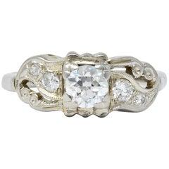 Retro 0.65 Carat Diamond 14 Karat White Gold Engagement Ring