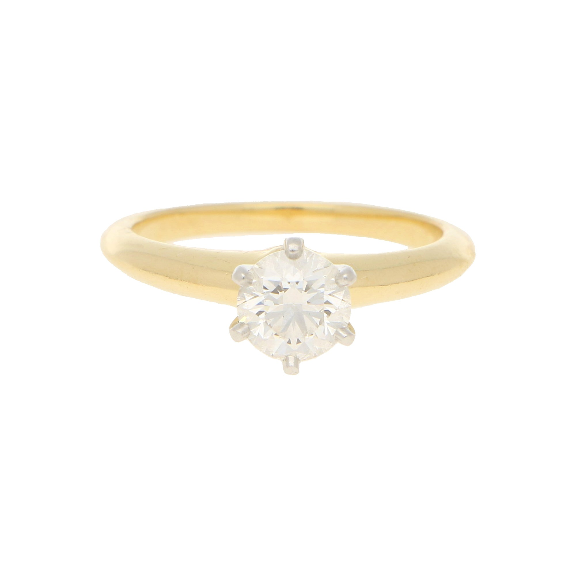 Tiffany & Co Solitaire Diamond Ring in 18ct Yellow Gold 0.86 Carat