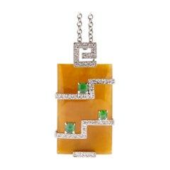 Jona Brown Jadeite Jade White Diamond 18 Karat White Gold Pendant Necklace