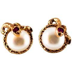 "Art Nouveau 0.08 Carat Ruby Pearl Yellow Gold Stud Dangle ""Snake"" Earrings"