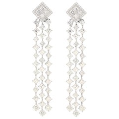 16.17 Carat Diamond Negligee Waterfall Drop Earrings in Platinum