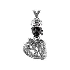 7.20 Carat White Diamond Ebony White Gold Platinum Elegant African Bust Pendant