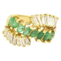 14 Karat Yellow Gold 2.24 Carat Emerald and Diamonds Abstract Ring