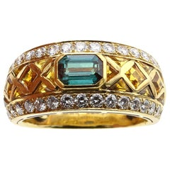 Alexandrite Ring with Citrine and Diamonds, Signed Garrard