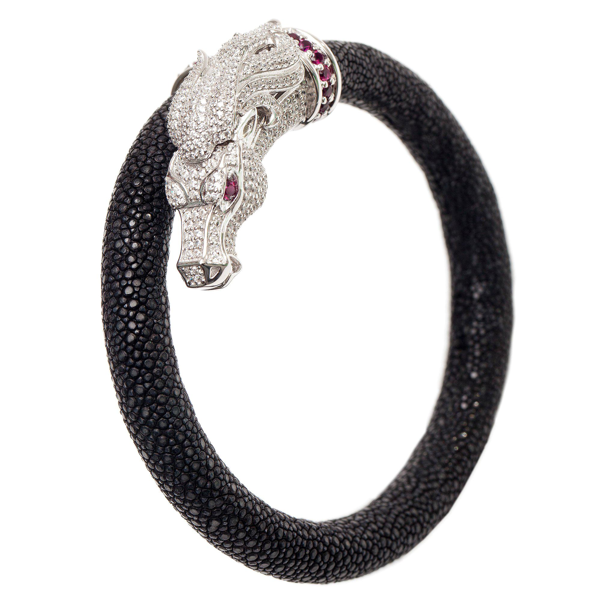 Ammanii Natural Stingray Bracelet with Pave Horse Head