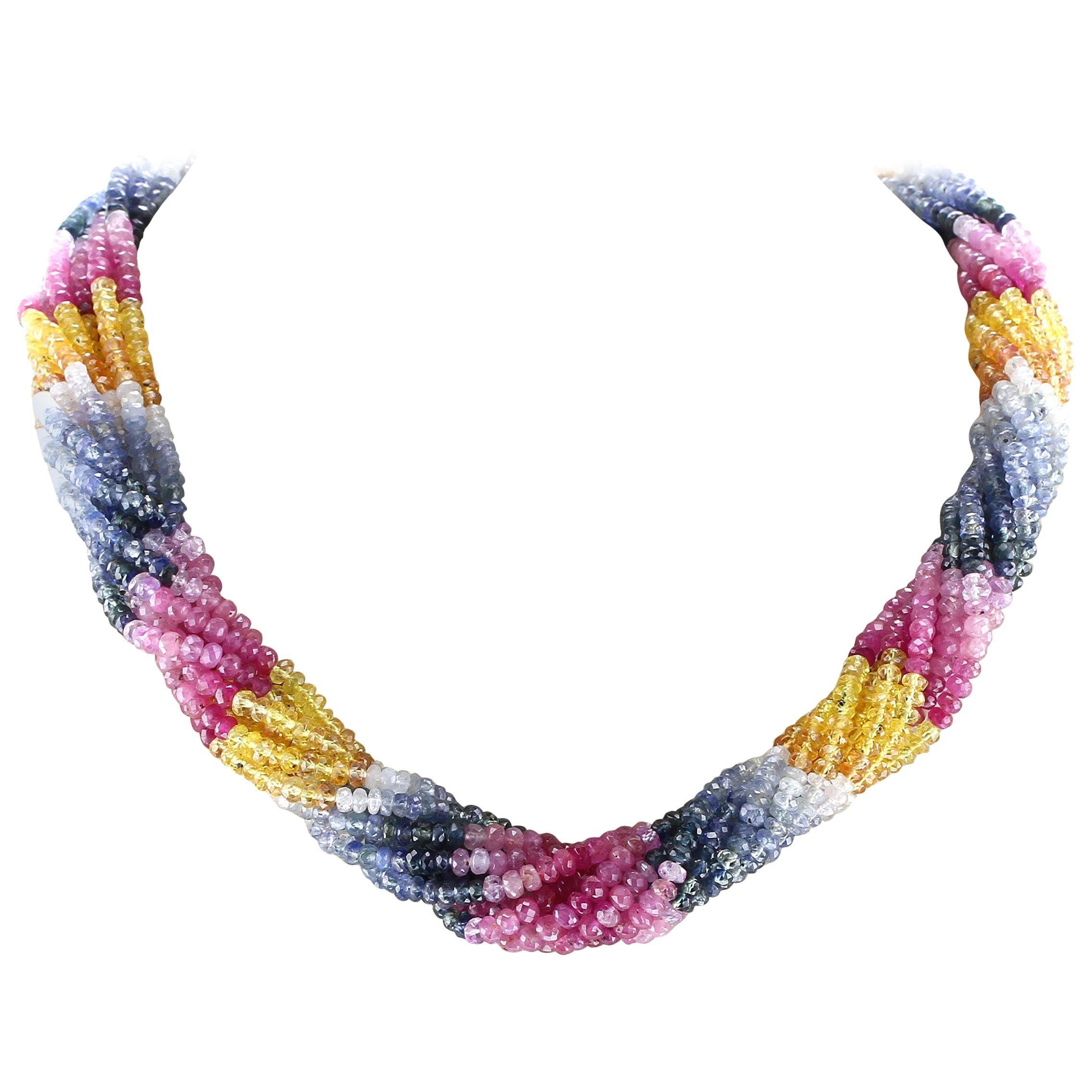 Natural Multi-Sapphire Choker Necklace, 18 Karat Yellow Gold Clasp