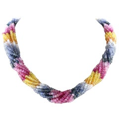 Natural Multi-Sapphire Choker Necklace, 18 Karat Yellow Gold Clasp