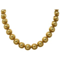Paloma Picasso Tiffany & Co. Vintage 18 Karat Gold Semi Sphere Domed Necklace
