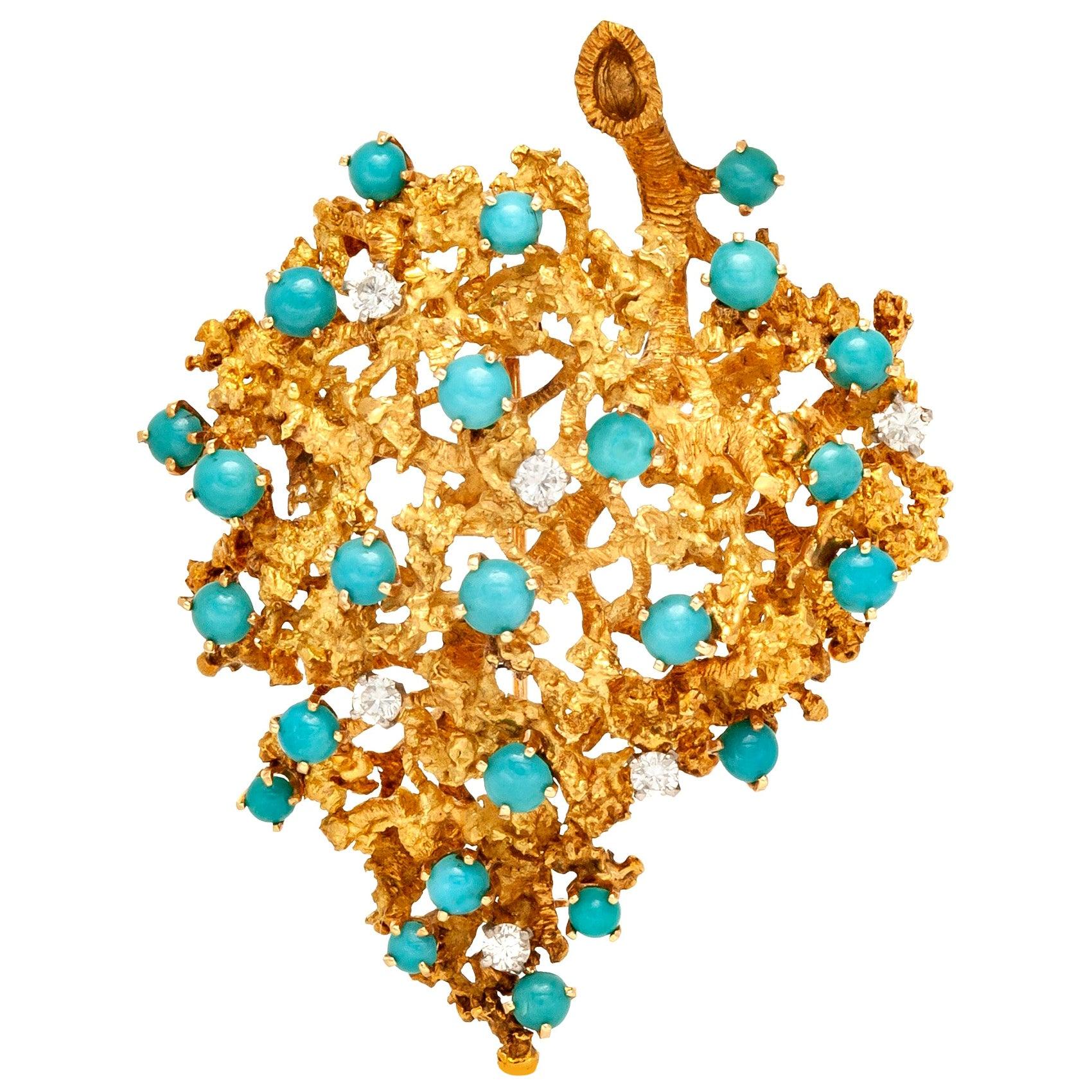 Leaf Diamond Turquoise Brooch