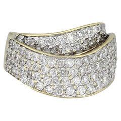 Round Cut Diamond Pave Crossover Ring