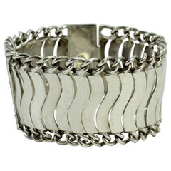 Mexican Sterling Silver Linked Wave Bracelet by Plateria FarFan, circa 1950